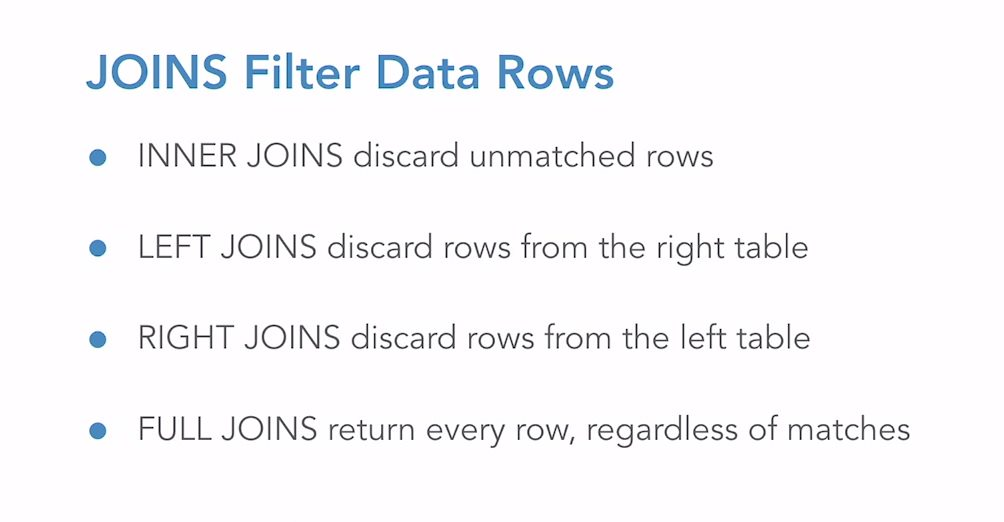 JOIN filters data rows